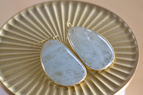 <small>Tej Kothari</small><br>Large Aquamarine Slice Earrings