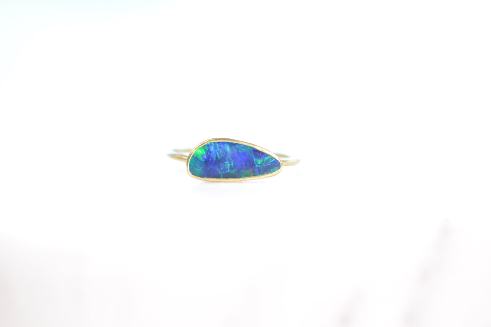 Tej Kothari Boulder Opal Free Form Ring blue green 18k yellow Gold