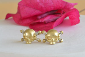 Load image into Gallery viewer, Polly Wales Skull & Bone Baguette Diamond Diamonds Earrings stud studs