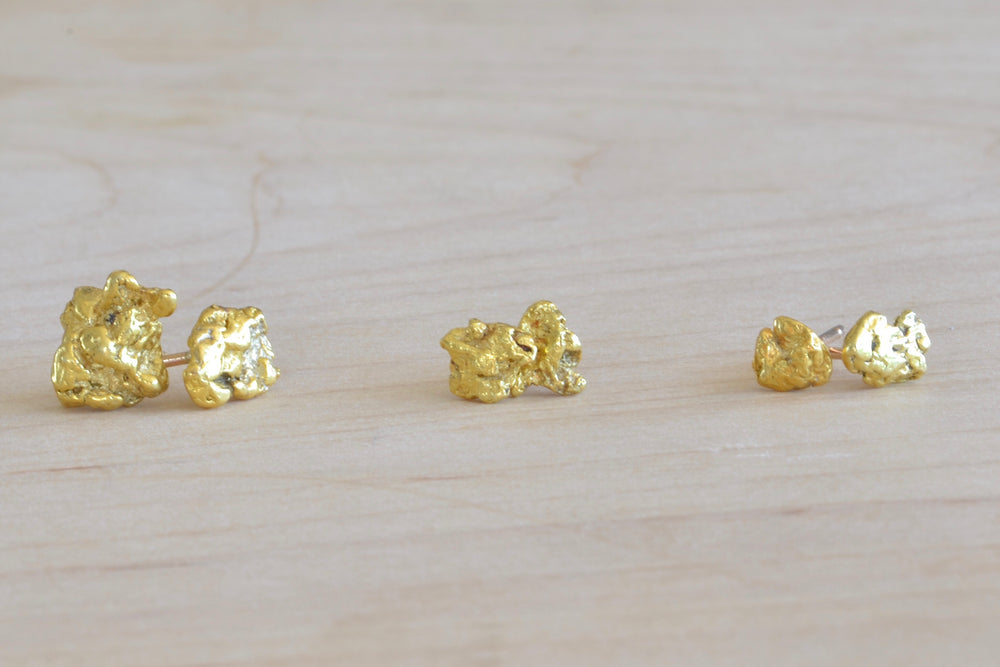 Load image into Gallery viewer, OK Gold Nugget Studs Large, medium and small