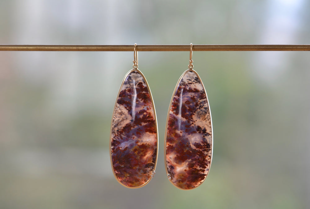 Large Plum Agate with Diamonds Earrings