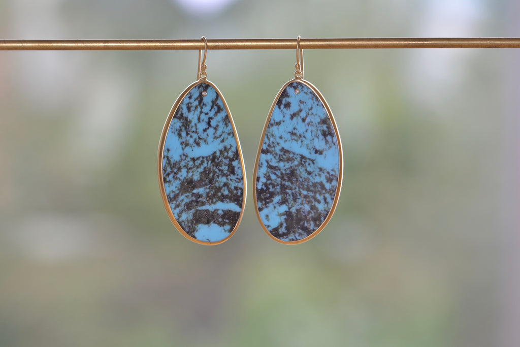 <small>Tej Kothari</small><br>Large Sleeping Beauty Turquoise Earrings