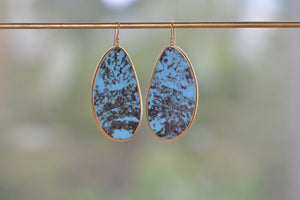 Load image into Gallery viewer, Tej Kothari Large Turquoise Slice Earrings 18k yellow gold earwire ear wire tiny diamond