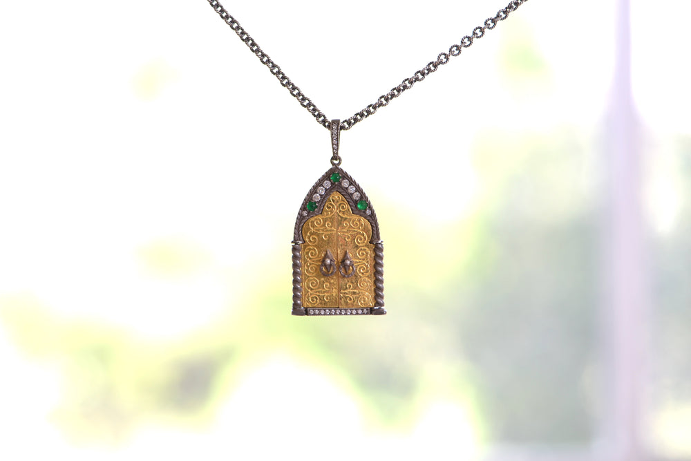 Arman Sarkyssian Cathedral Door Emerald Diamond 22k Yellow Gold Oxidized Sterling Silver Chain Pendant Necklace