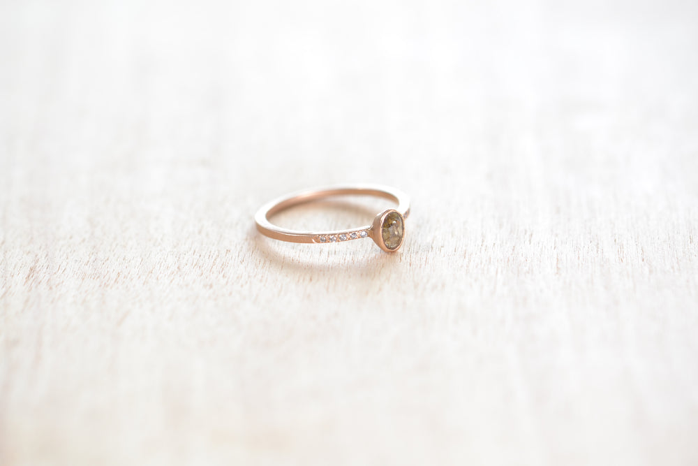 Jennifer Dawes Stacking stone ring grey brown rustic Diamond 18k rose gold pave engagement