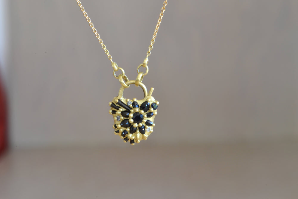 Polly Wales Black Sapphire Locket Pendant Necklace Diamonds Chain 18k yellow recycled gold