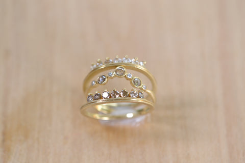 <small>Jennifer Dawes</small><br>Champagne Diamond Stacking Crown Band