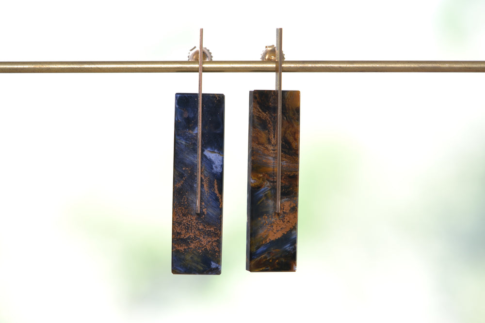 Load image into Gallery viewer, Kathleen Whitaker Pietersite Edge Stud Earring on stick and strand Earrings 14k gold stone collection
