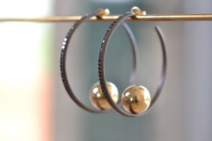 Arman Sarkyssian Oxidized Silver Hoop with ball Earrings 22k Yellow Gold Black Diamond