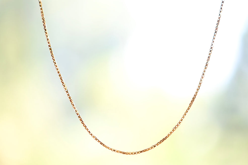 "OK Box Chain 18k yellow gold 20"" Handmade in Los Angeles"