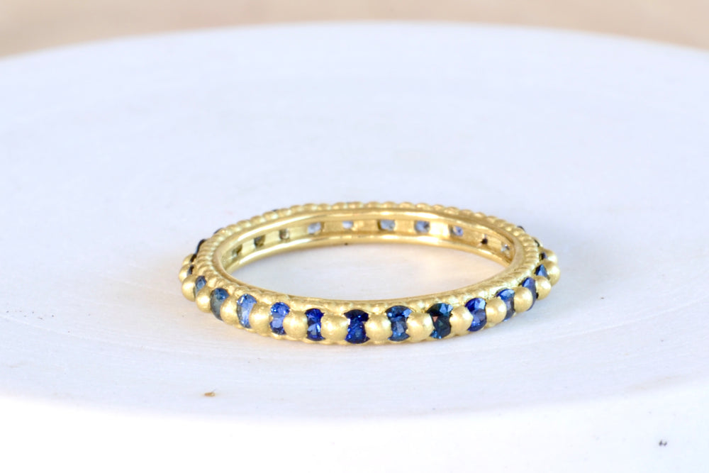 Polly Wales Ramona Rapunzel Ring Blue Sapphires 18k yellow gold recycled
