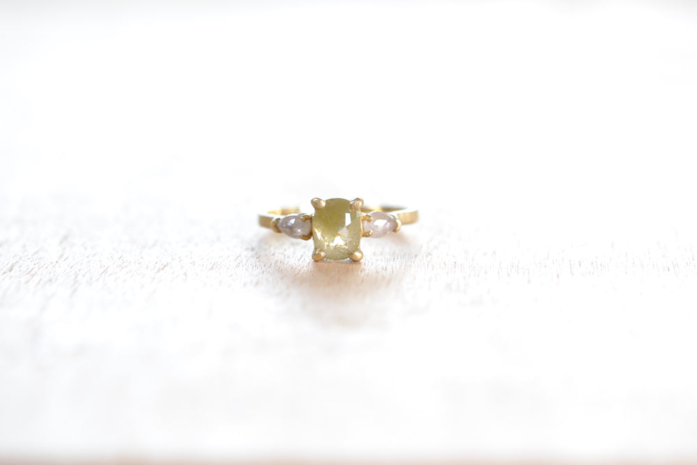 Three Stone Ring with Green Diamond