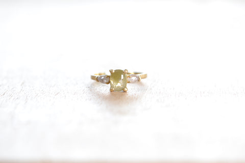 <small>Jennifer Dawes</small><br> Three Stone Ring with Green Diamond