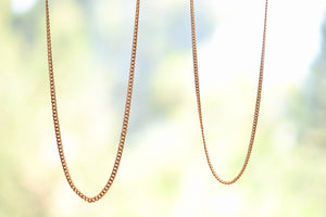 "OK Chain Bar Cuban Chains 14k yellow gold 20"" or 18""  in 4mm or 3mm wide Handmade in Los Angeles"