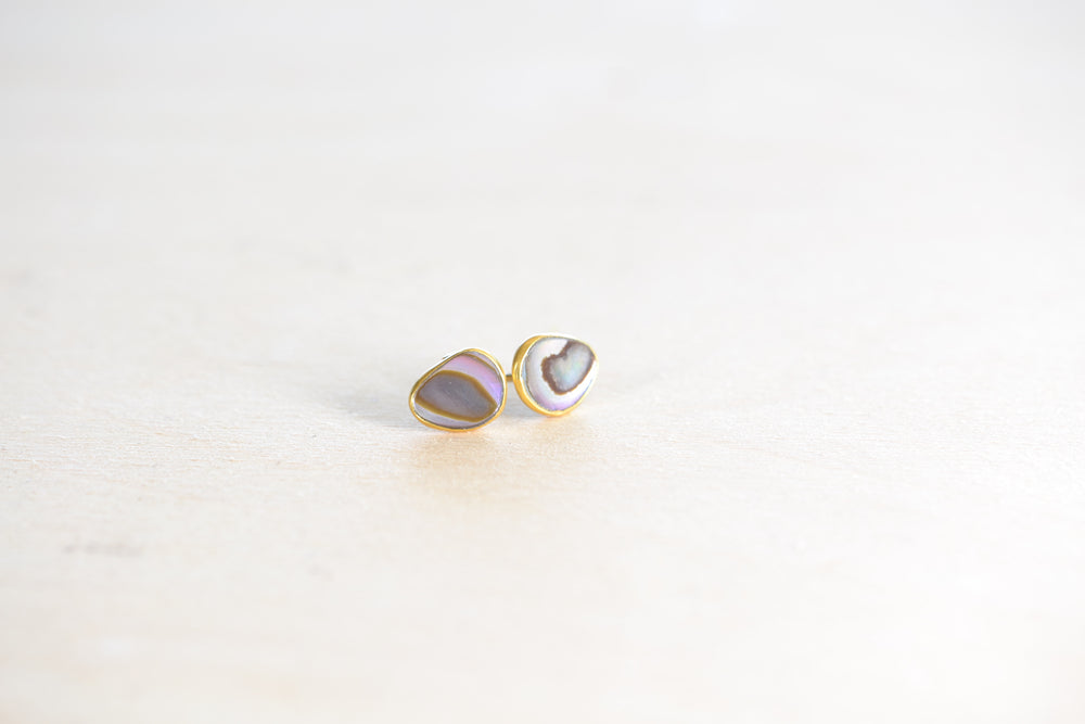 Pippa Small Classic Paua Shell Oyster Shell Stud Studs earrings 18k yellow gold