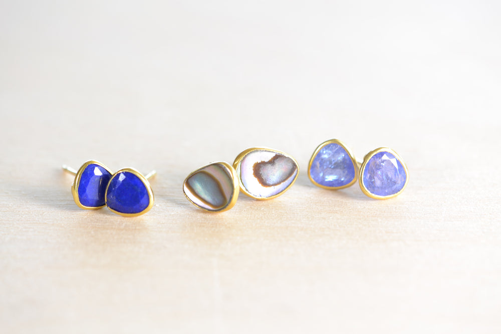 Pippa Small Classic Stud Studs Lapis Paua Shell Tanzanite earrings