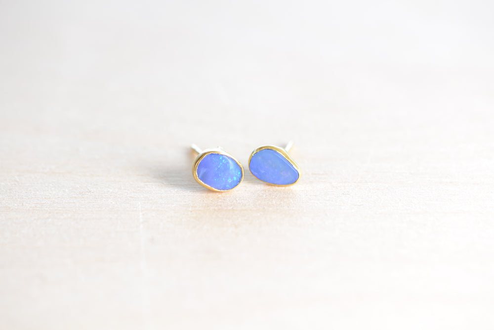 Darker Blue Opal Classic Stud Earrings
