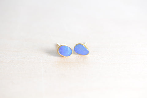 <small>Pippa Small</small><br> Darker Blue Opal Classic Stud Earrings