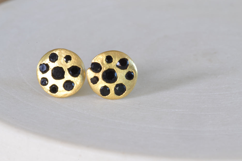 Polly Wales Black Sapphire Small Celeste Disc Studs Earrings Sapphires 18k yellow recycled gold