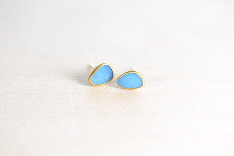 <small>Pippa Small</small><br> Lighter Blue Opal Classic Stud Earrings