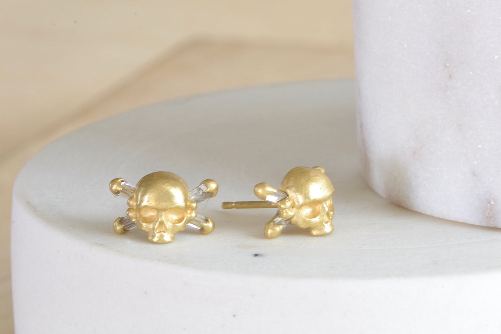Small Skull & Bone Earrings with Baguette Diamonds