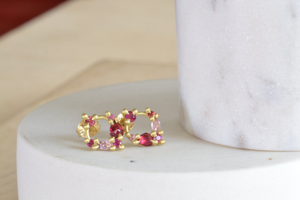 Polly Wales Des Goutes de Rosee Stud Earrings studs in China Rose 18k Yellow Recycled Gold Pink red rubies pink white sapphires