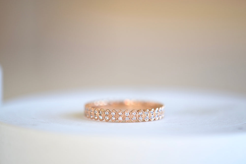 Sethi Couture Mini Abacus Double Row Full  Eternity Band 18k rose gold 3.5mm White diamonds