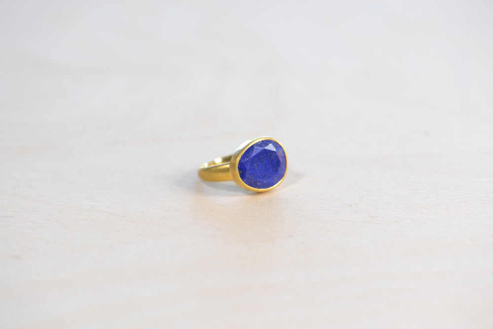 Lapis Large Greek Ring