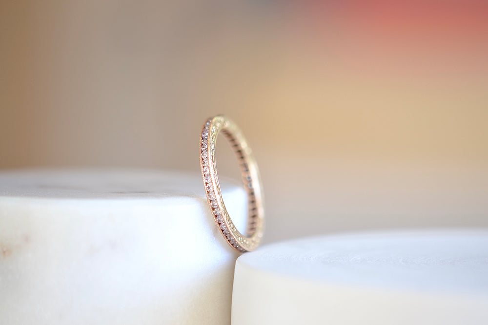 Sethi Couture Channel Set Full Eternity Band intricate design pink diamonds 18k rose gold 2mm
