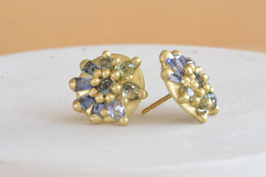 Polly Wales Lyra Dome Stud Earrings Blue Aqua 18k yellow recycled gold stud studs