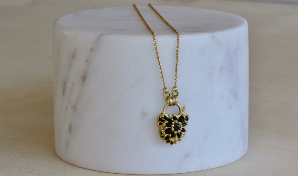 Black Sapphire Locket Necklace