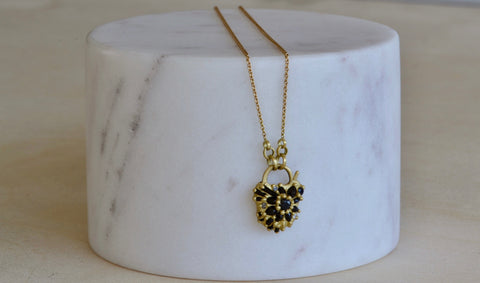 <small>Polly Wales</small><br>Black Sapphire Locket Necklace