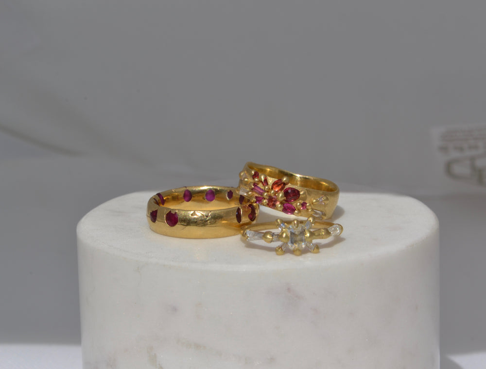 Load image into Gallery viewer, Polly Wales Gerda Diamond Halo Ring Baguette White Diamonds 18k yellow recycled gold size 5.25 Plum Fade Wide Ring Ruby Red pink Wide Celeste ring
