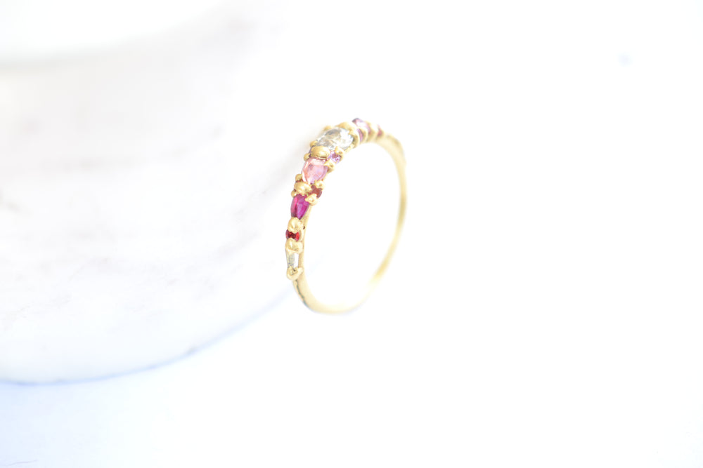 Polly Wales Coral Marietta Diamond Ring 18k yellow gold recycled thin band orange pink lilac sapphires white diamond size 6.5