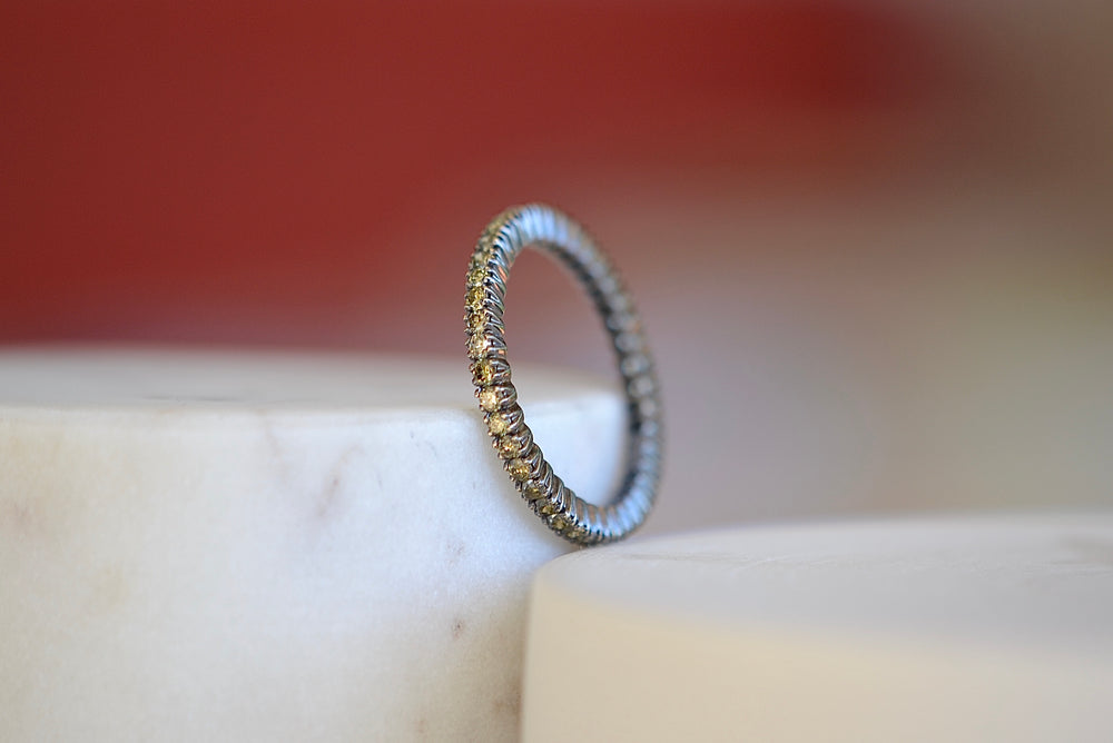 Load image into Gallery viewer, Sethi Couture The Prong Set Eternity Band 18k rhodium blackened gold 2mm Yellow diamonds