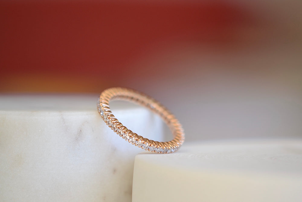 Load image into Gallery viewer, Sethi Couture The Prong Set Eternity Band 18k Rose gold 2mm White diamonds