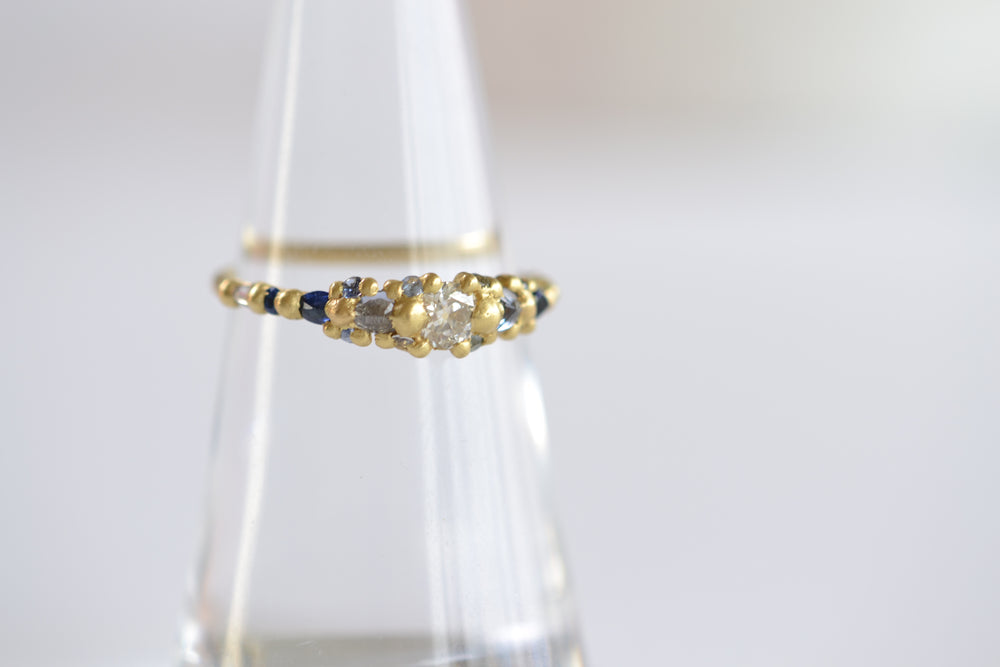 Polly Wales Blue Marietta Diamond Ring Blue Sapphires White Diamonds 18k yellow recycled gold size 6.5 in stock