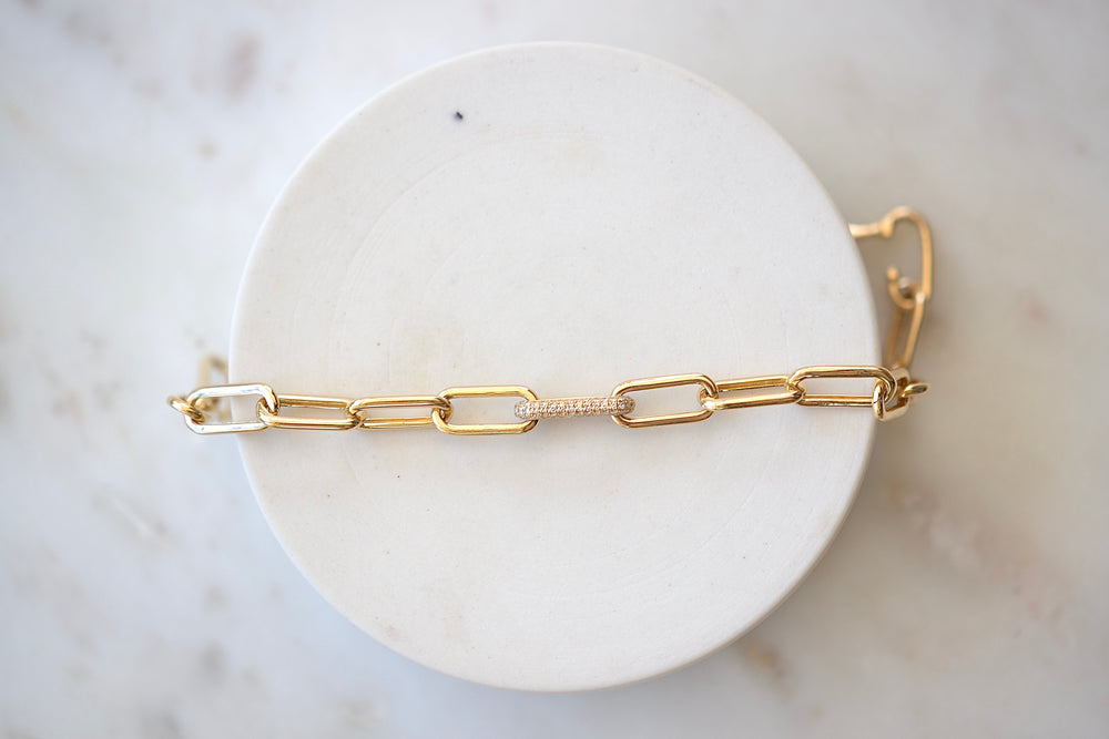OK Oval Link Bracelet with Hidden Closure 14k yellow shiny finish gold pavé link accent