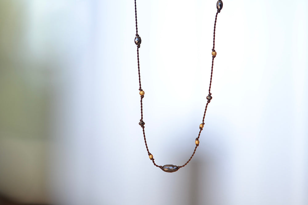 "Margaret Solow Black Diamond and 18k Gold Cord Necklace gold clasp 15 - 15.5"" nylon organic signature available at OK."