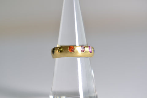 <small>Polly Wales</small><br>Wide Celeste Ring in Super Poppy Blossom Crush Sapphires
