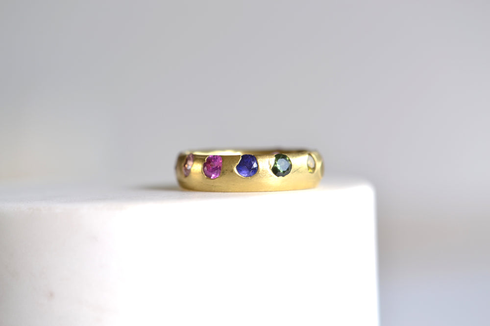 Super Poppy Wide Celeste Ring