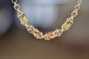 Polly Wales La Fontaine Necklace purple orange navy aqua grey Sapphires 18k yellow recycled gold chain