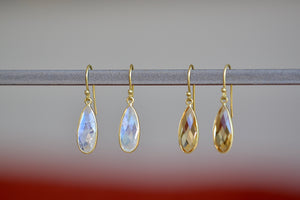 Tej Kothari Bee's Wing Drop Earrings 18k yellow gold with ear wire and bezel with rainbow moonstone or citrine