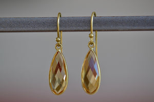 Tej Kothari Bee's Wing Drop Earrings 18k yellow gold with ear wire and bezel with faceted citrine
