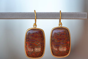 Tej Kothari Fossilized Dinosaur Bone Earrings 18k yellow gold bezel