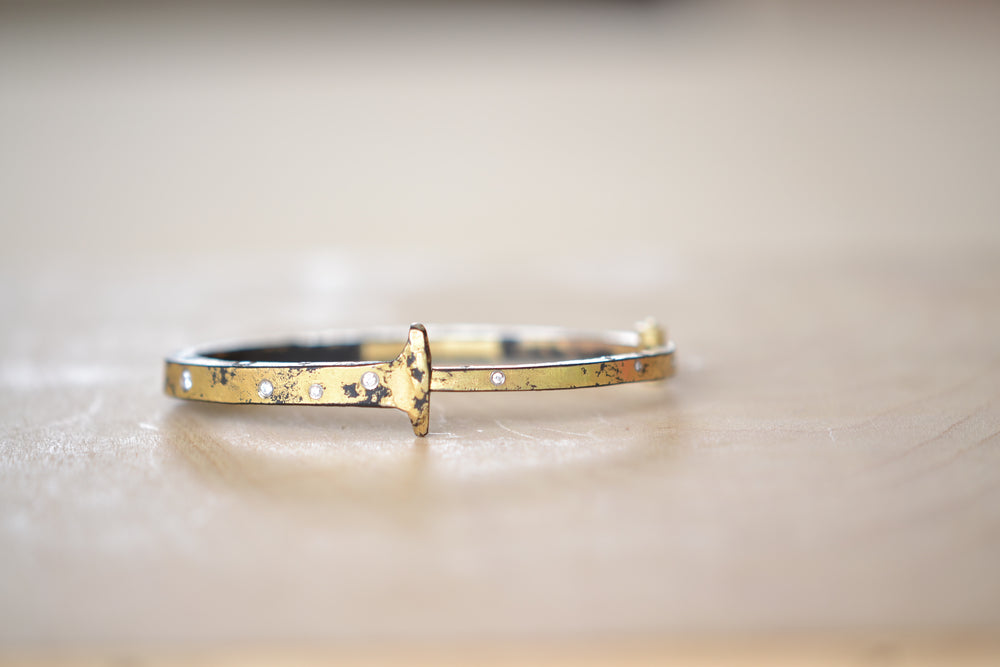 Pat Flynn Super Dust Top Sprinkle Nail Bracelet Forged Blackened iron 22k Gold Dust, diamonds, 18k gold hinge