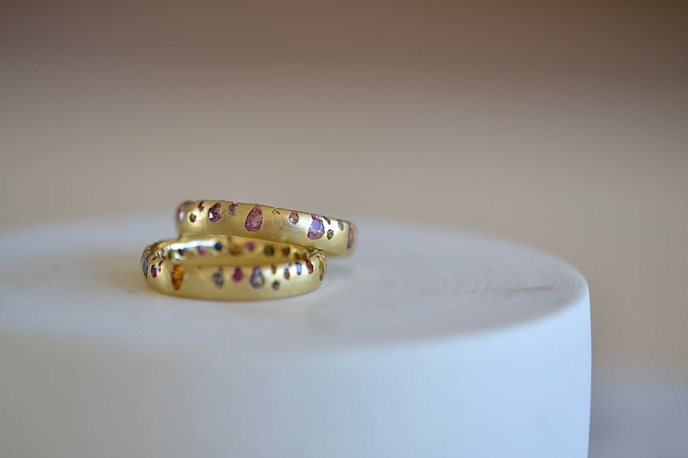 Polly Wales Soft Pink Confetti Band Ring in 18k recycled yellow gold with sapphires and cast not set