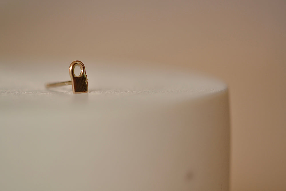 Zoe Chicco Midi Bitty Stud Earring in stud available in Padlock in 14k yellow recycled gold with post closure