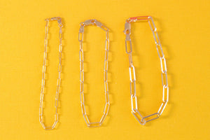 "OK Chain Bar 14k gold 7"" paperclip chain bracelets with 5mm, 8mm or 12mm long clips"