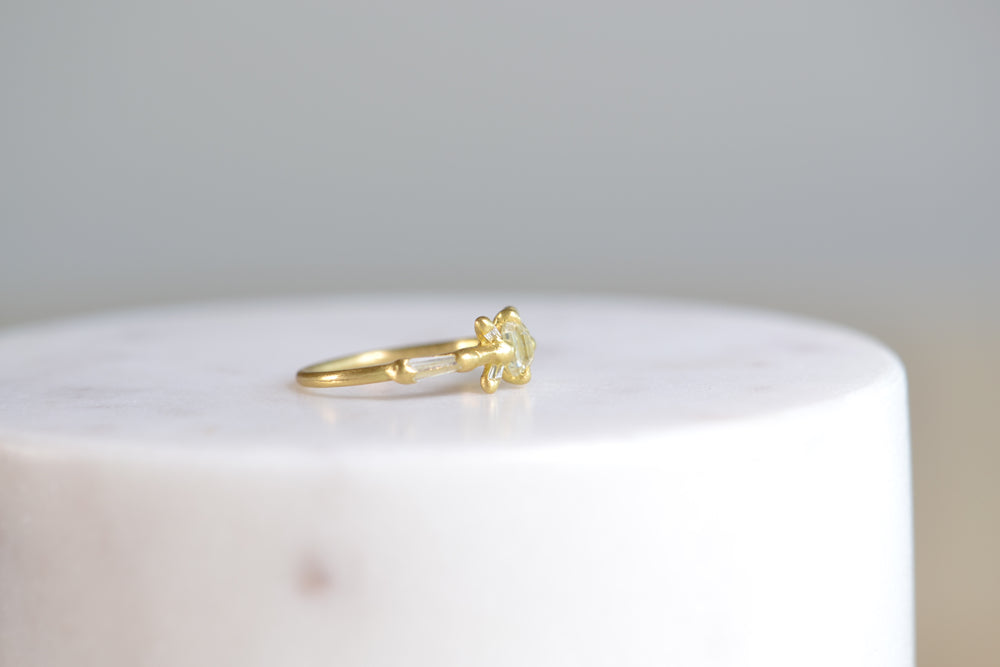 Load image into Gallery viewer, Polly Wales Gerda Diamond Halo Ring Baguette White Diamonds 18k yellow recycled gold size 5.25